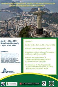 Poster do primeiro simpósio sobre recursos educacionais abertos, feito em Logan, Utah